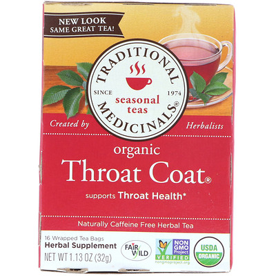 Купить Сезонный чай, натуральная защита для горла, без кофеина, 16 завернутых пакетиков, 1.13 унций (32 г)