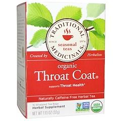 Traditional Medicinals, Seasonal Teas, Organic Throat Coat, Naturally Caffeine Free, 16 Wrapped Tea Bags, 1.13 oz (32 g)
