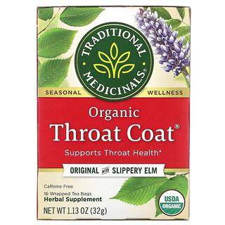 Traditional Medicinals, Organic Throat Coat, Original with Slippery Elm, Caffeine Free, 16 Wrapped Tea Bags, 1.13 oz (32 g)