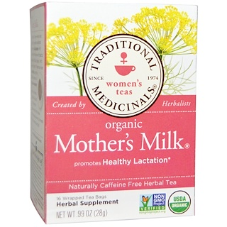 Traditional Medicinals, Women's Teas, Organic Mother's Milk, Naturally Caffeine Free, 16 Wrapped Tea Bags, .99 oz (28 g)