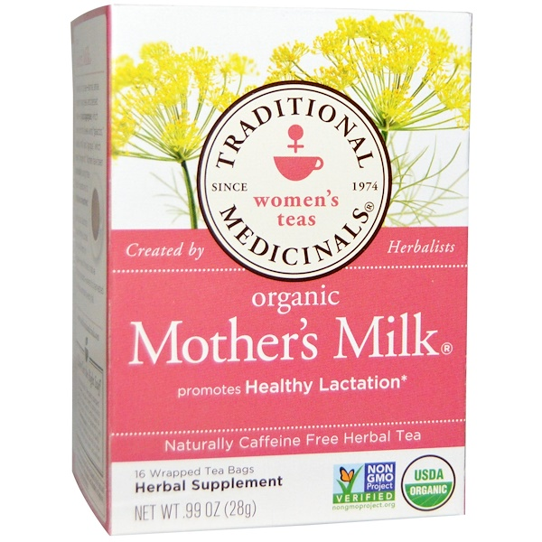 Women's Teas, Organic Mother's Milk, Naturally Caffeine Free, 16 Wrapped Tea Bags, .99 oz (28 g)