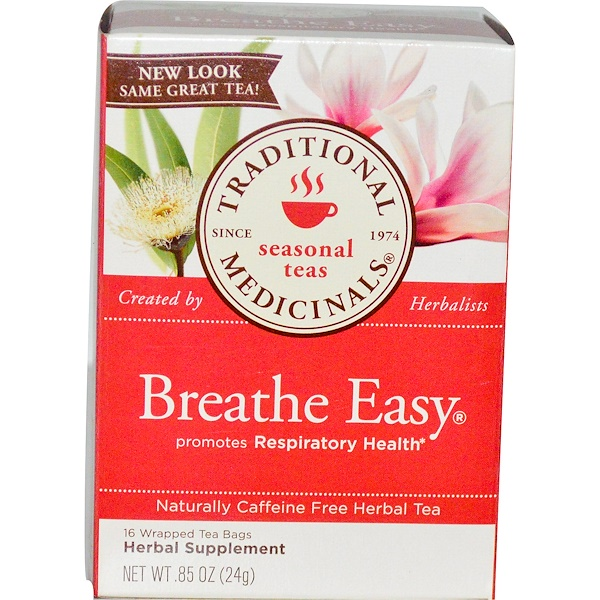 Traditional Medicinals, Seasonal Teas, Breathe Easy, Naturally Caffeine Free, 16 Wrapped Tea Bags, .85 oz (24 g)