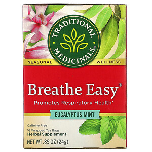Традитионал Медисиналс, Breathe Easy,  Eucalyptus Mint, Caffeine Free, 16 Wrapped Tea Bags, .85 oz (24 g) отзывы покупателей
