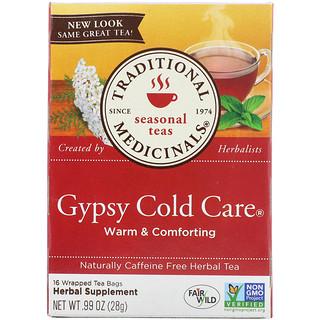 Traditional Medicinals, Seasonal Teas, Gypsy Cold Care, Naturally Caffeine Free, 16 Wrapped Tea Bags, .99 oz (28 g)