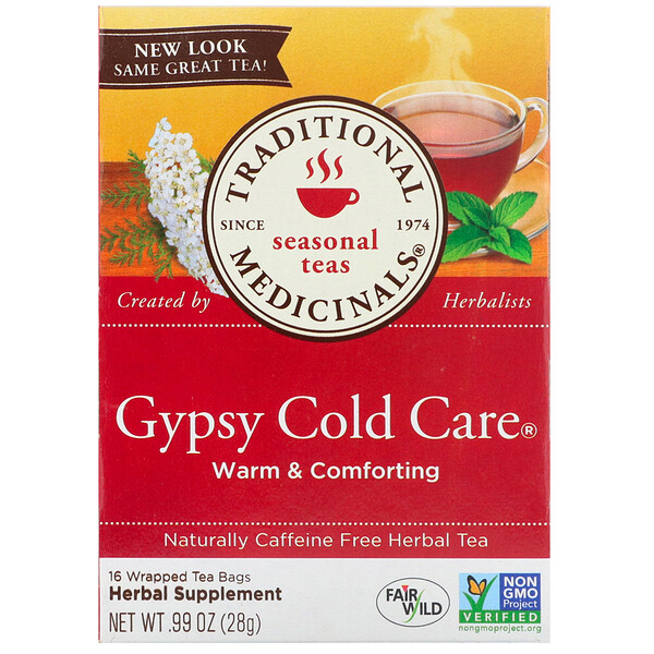 Seasonal Teas, Gypsy Cold Care, Naturally Caffeine Free, 16 Wrapped Tea Bags, .99 oz (28 g)