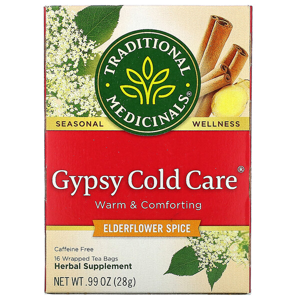 Traditional Medicinals, Gypsy Cold Care, Elderflower Spice, Caffeine Free, 16 Wrapped Tea Bags, .99 oz (28 g) (Discontinued Item)