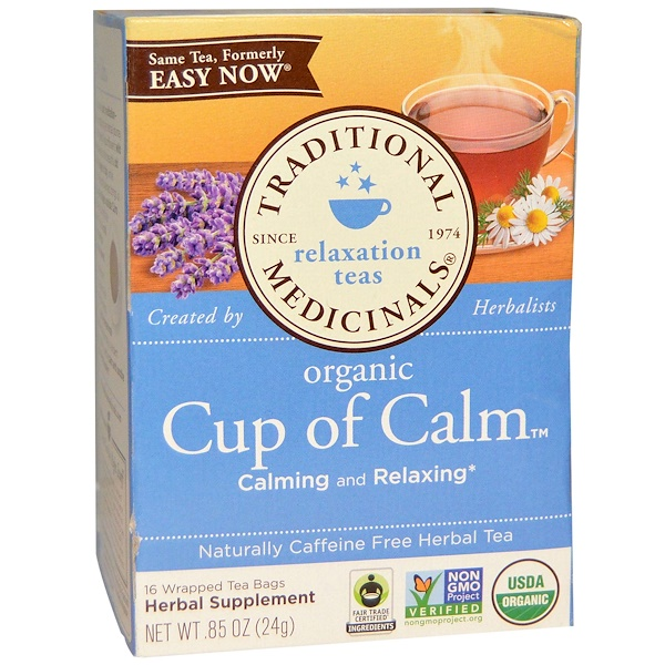 Traditional Medicinals, Herbal Teas, Organic Cup of Calm, Naturally Caffeine Free, 16 Wrapped Tea Bags, 0.85 oz (24 g)
