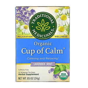 Традитионал Медисиналс, Organic Cup of Calm,  Lavender Mint, Caffeine Free, 16 Wrapped Tea Bags, .85 oz (24 g) отзывы покупателей