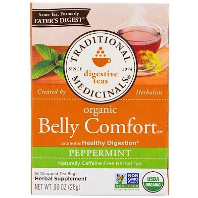 Купить Чаи для улучшения работы пищеварения, комфорт в желудке, мятный вкус, без кофеина, 16 чайных пакетиков, 0, 99 унции(28 г)