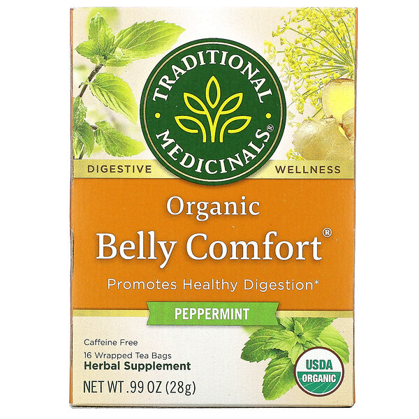 Organic Belly Comfort, Peppermint, Caffeine Free, 16 Wrapped Tea Bags, .99 oz (28 g)