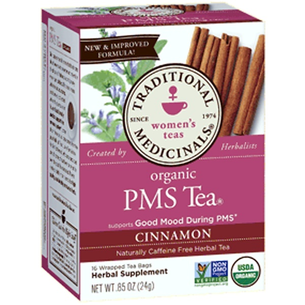 Traditional Medicinals, Women's Teas, Organic PMS Tea, Naturally Caffeine Free Herbal Tea, Cinnamon, 16 Wrapped Tea Bags, .85 oz (24 g) (Discontinued Item)