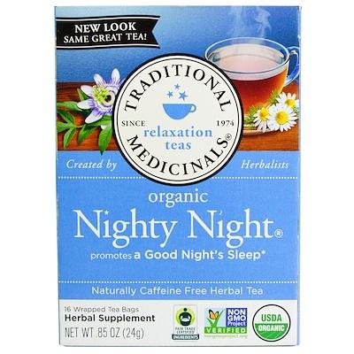Купить Успокаивающий чай, органический чай Nighty Night, без кофеина, 16 чайных пакетиков в индивидуальной упаковке, 0, 85 унции (24 г)