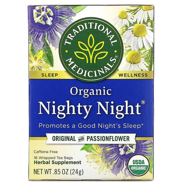 Traditional Medicinals, Organic Nighty Night,  Original with Passionflower, Caffeine Free, 16 Wrapped Tea Bags, .85 oz (24 g)