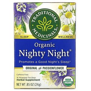 Традитионал Медисиналс, Organic Nighty Night,  Original with Passionflower, Caffeine Free, 16 Wrapped Tea Bags, .85 oz (24 g) отзывы покупателей