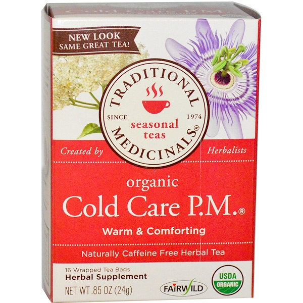 Traditional Medicinals, Seasonal Teas, Organic Cold Care P.M., Caffeine Free, 16 Wrapped Tea Bags, .85 oz (24 g) (Discontinued Item)