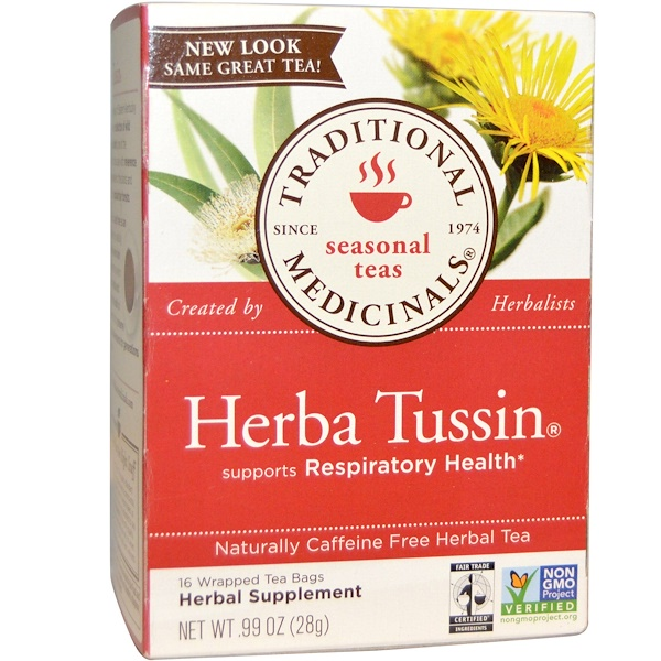 Traditional Medicinals, Herbal Tea, Herba Tussin, Caffeine Free, 16 Wrapped Tea Bags, .99 oz (28 g) (Discontinued Item)
