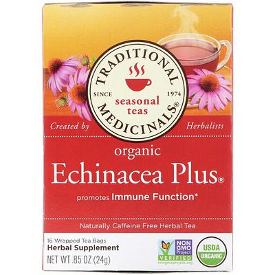 Сезонный чай, органическая эхинацея плюс, без кофеина, 16 индивидуально упакованных чайных пакетиков, 0,85 унции (24 г)
