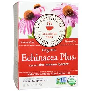 Traditional Medicinals, Seasonal Teas, Organic Echinacea Plus, Naturally Caffeine Free, 16 Wrapped Tea Bags, .85 oz (24 g)