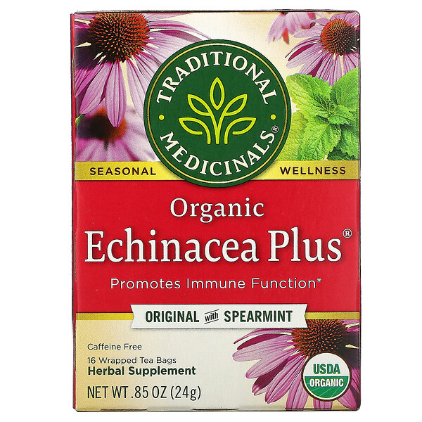 Organic Echinacea Plus, Original with Spearmint, Caffeine Free, 16 Wrapped Tea Bags, .85 oz (24 g)