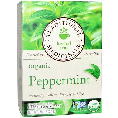 Купить Травяной сбор, органическая перечная мята, без кофеина, 16чайных пакетиков, 24г