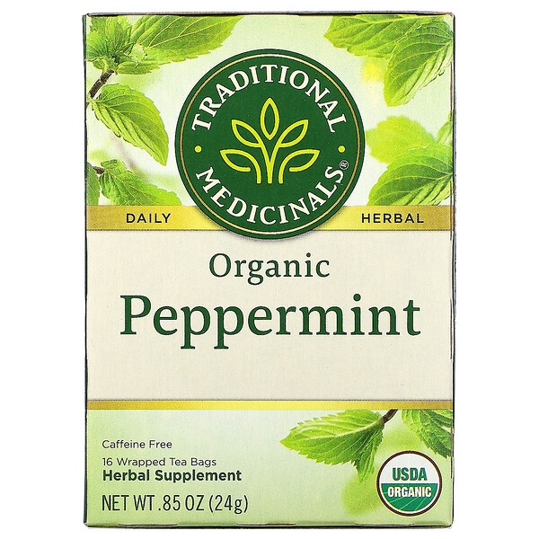 Organic Peppermint, Caffeine Free, 16 Wrapped Tea Bags, .85 oz (24 g)