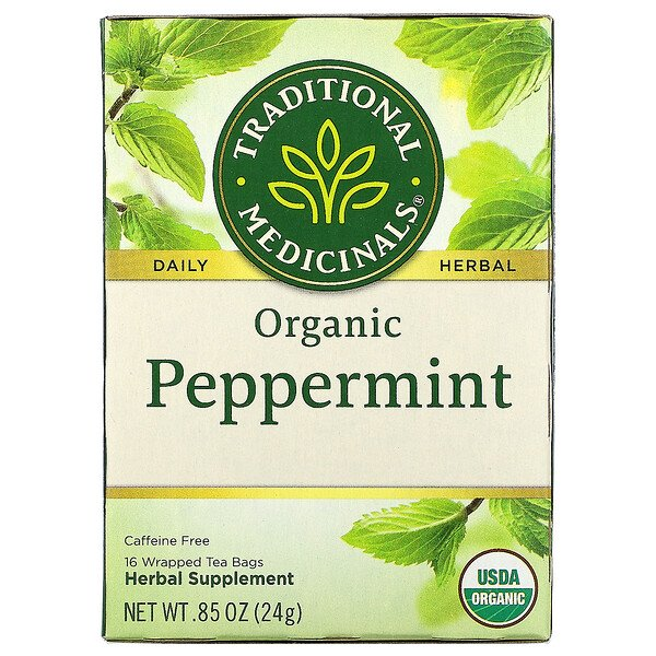 Traditional Medicinals, Organic Peppermint, Caffeine Free, 16 Wrapped Tea Bags, .85 oz (24 g)