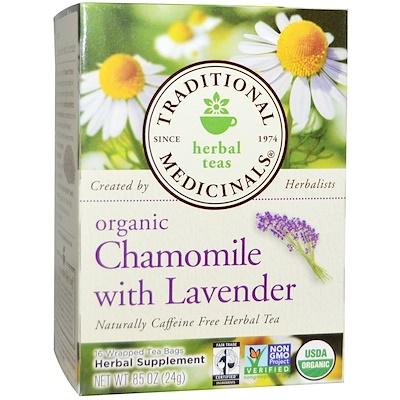 Купить Травяной чай, органическая ромашка с лавандой, без кофеина, 16 чайных пакетиков в индивидуальной упаковке, 0, 85 унции (24 г)