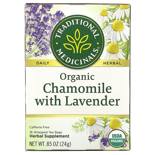 Organic Chamomile with Lavender, Caffeine Free, 16 Wrapped Tea Bags, .85 oz (24 g)