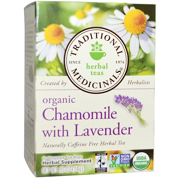 Herbal Teas, Organic Chamomile with Lavender, Naturally Caffeine Free, 16 Wrapped Tea Bags, .85 oz (24 g)