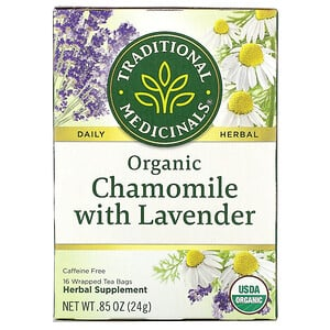 Традитионал Медисиналс, Organic Chamomile with Lavender, Caffeine Free, 16 Wrapped Tea Bags, .85 oz (24 g) отзывы покупателей