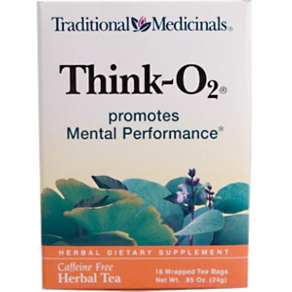 Traditional Medicinals, Think-O2, Caffeine Free, 16 Wrapped Tea Bags, .85 oz (24 g) (Discontinued Item)