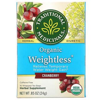 Traditional Medicinals, Weightless, Té orgánico, Arándano rojo, Sin cafeína, 16bolsitas de té envueltas, 24g (0,85oz)