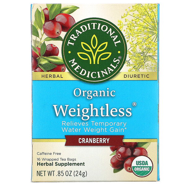 Organic Weightless, Cranberry, Caffeine Free, 16 Wrapped Tea Bags, .85 oz (24 g)