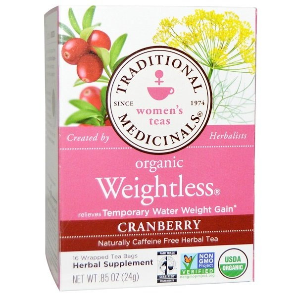 Women's Teas, Organic Weightless, Naturally Caffeine Free Herbal Tea, Cranberry, 16 Wrapped Tea Bags, .85 oz (24 g)