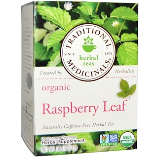 Traditional Medicinals, Relaxation Teas, Organic Raspberry Leaf, Naturally Caffeine Free, 16 Wrapped Tea Bags, .85 oz (24 g)