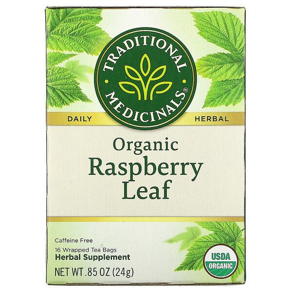 Traditional Medicinals, Organic Raspberry Leaf, Caffeine Free, 16 Wrapped Tea Bags, .85 oz (24 g)