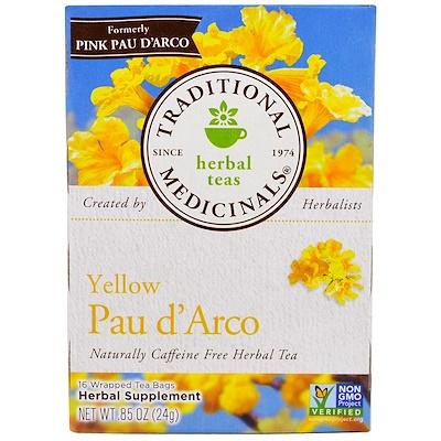 Купить Желтый Пау д'Арко, натуральный травяной чай без кофеина, 16 пакетиков, 0, 85 унции (24 г)