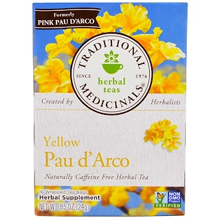 Traditional Medicinals, Herbal Teas, Yellow Pau d' Arco, Naturally Caffeine Free, 16 Wrapped Tea Bags, .85 oz (24 g)