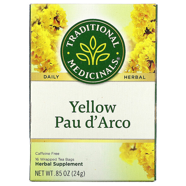 Traditional Medicinals, Yellow Pau d' Arco, Caffeine Free, 16 Wrapped Tea Bags, .85 oz (24 g)