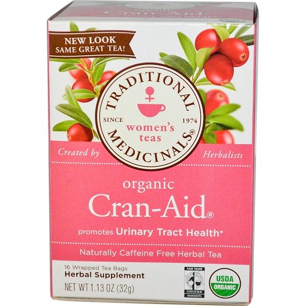 Traditional Medicinals, Herbal Tea, Organic Cran-Aid, Caffeine Free, 16 Wrapped Tea Bags, 1.13 oz (32 g) (Discontinued Item)