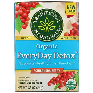 Traditional Medicinals, Organic EveryDay Detox, Caffeine Free, Schisandra Berry, 16 Wrapped Tea Bags, .85 oz (24 g)