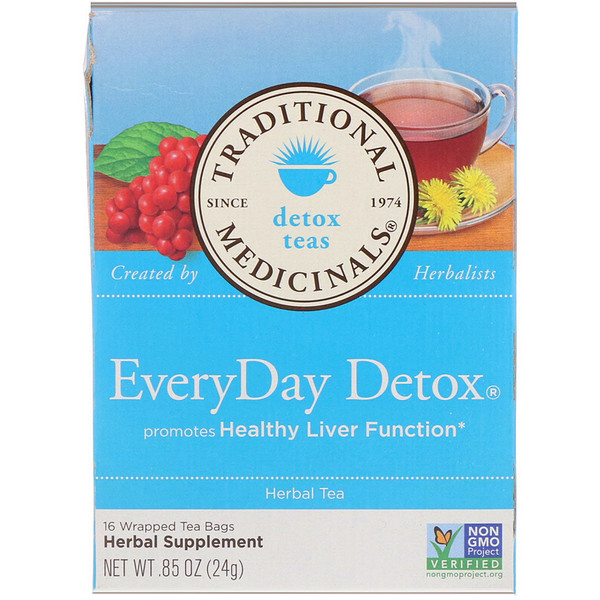 Traditional Medicinals, Detox Teas, EveryDay Detox, 16 Wrapped Tea Bags, .85 oz (24 g)