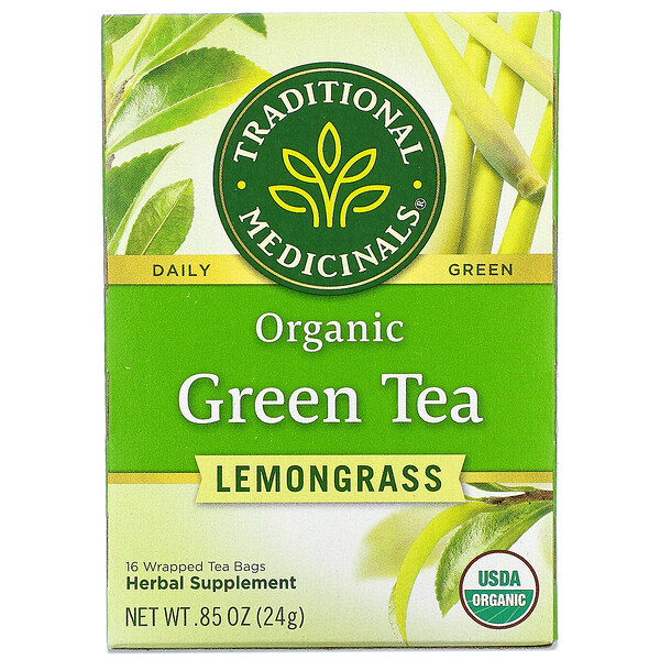 Organic Green Tea, Lemongrass, 16 Wrapped Tea Bags, .85 oz (24 g)