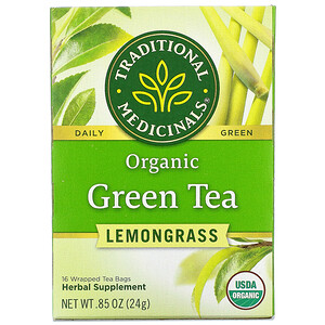 Традитионал Медисиналс, Organic Green Tea, Lemongrass, 16 Wrapped Tea Bags, .85 oz (24 g) отзывы покупателей