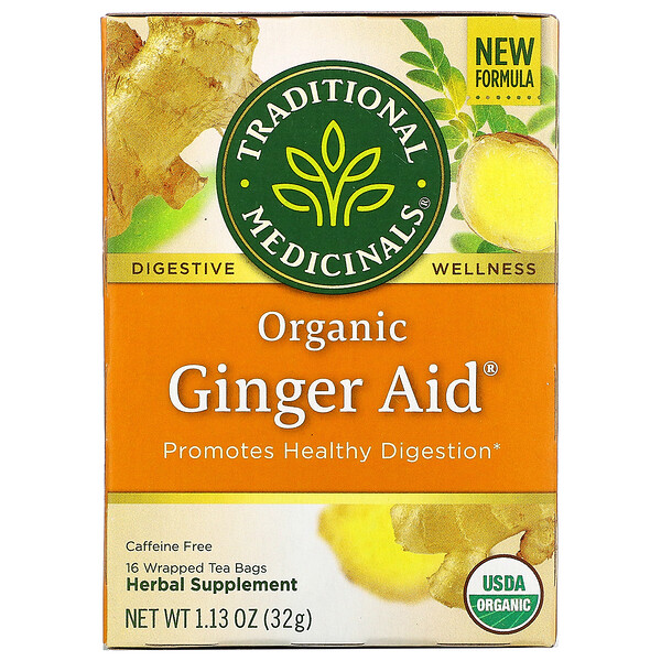 Organic Ginger Aid, Caffeine Free, 16 Wrapped Tea Bags, 1.13 oz (32 g)