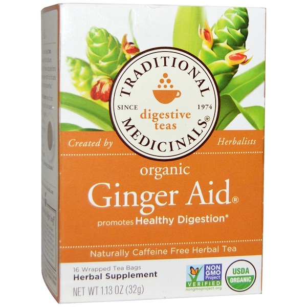 Traditional Medicinals, Digestive Teas, Organic Ginger Aid, Naturally Caffeine Free, 16 Wrapped Tea Bags, 1.13 oz (32 g)