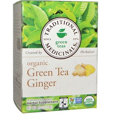Органический зеленый чай с имбирем, 16 пакетиков, 0,85 унции (24 г)