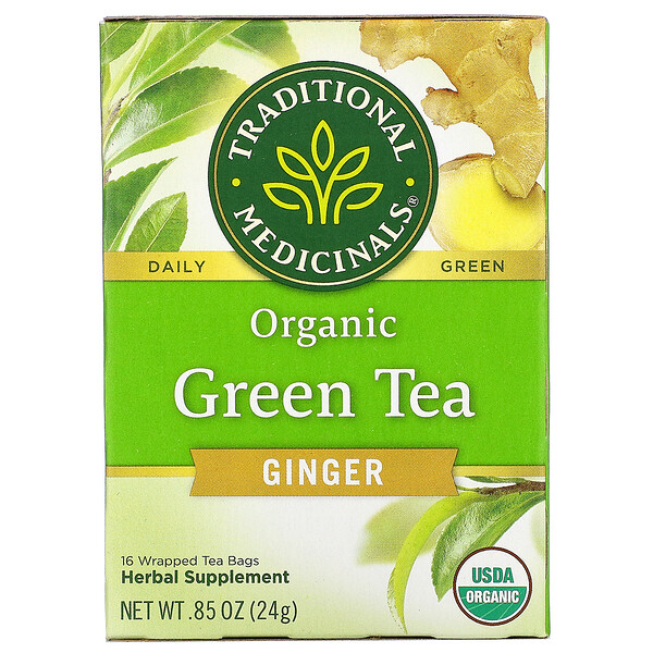 Organic Green Tea, Ginger, 16 Wrapped Tea Bags, .85 oz (24 g)