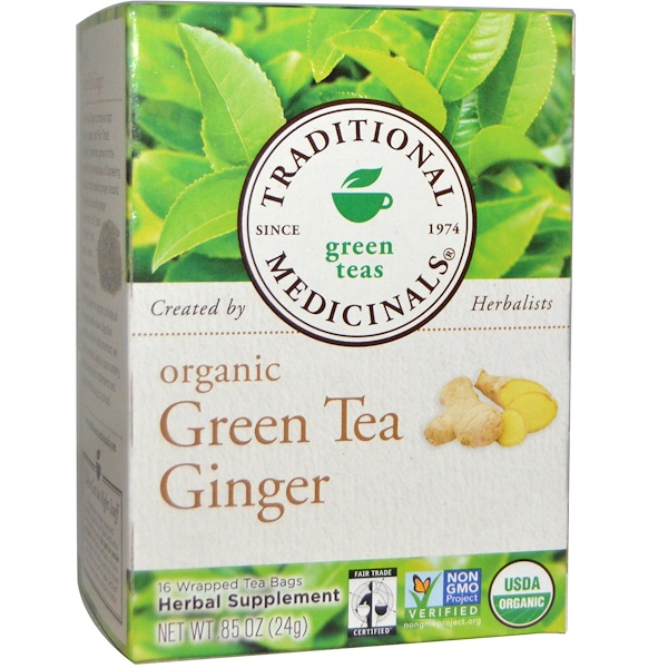 Green Teas, Organic Green Tea Ginger, 16 Wrapped Tea Bags, .85 oz (24 g)