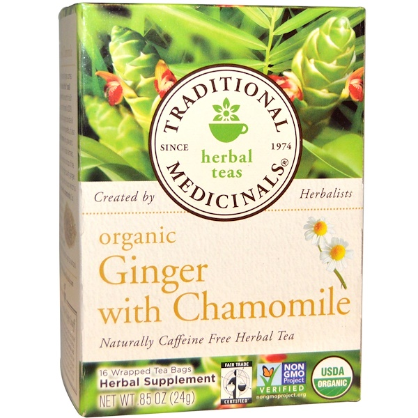 Traditional Medicinals, Herbal Teas, Organic Ginger with Chamomile, Naturally Caffeine Free, 16 Wrapped Tea Bags, .85 oz (24 g)